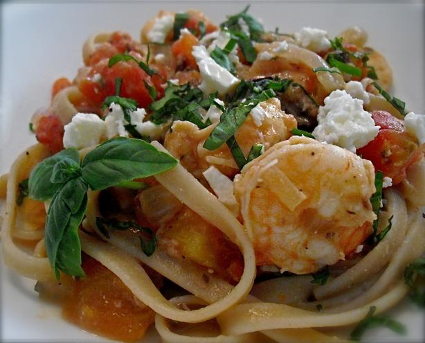 Greek Style Pasta With Shrimp and Feta. Photo by PaulaG