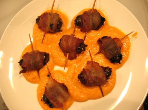 Tapas: Bacon Wrapped Dates and Sweet Red Bell Pepper Sauce. Photo by Chicagoland Chef du Jour