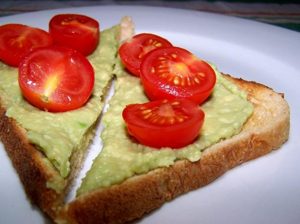 Creamy Avocado and Cherry Tomato Toast. Photo by **Jubes**