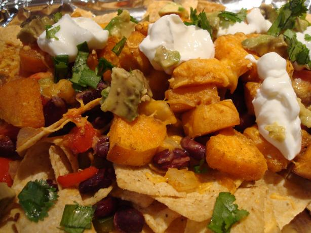 Bean and Sweet Potato Nachos. Photo by Starrynews