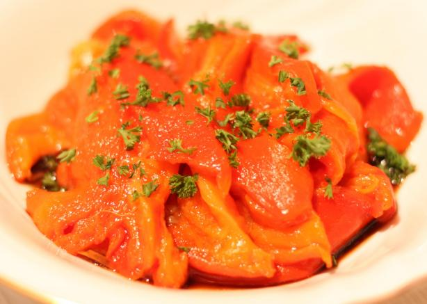 Roasted Red Bell Peppers With Sherry Vinegar. Photo by Peter J