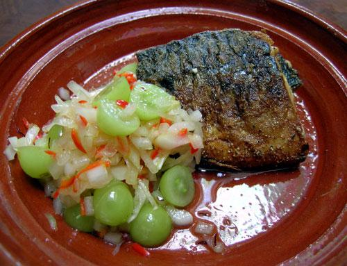 Spring Mackerel With Sour Grapes and Saffron Salsa. Photo by Rinshinomori