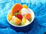 Coconut Ice Cream With Tropical Fruits