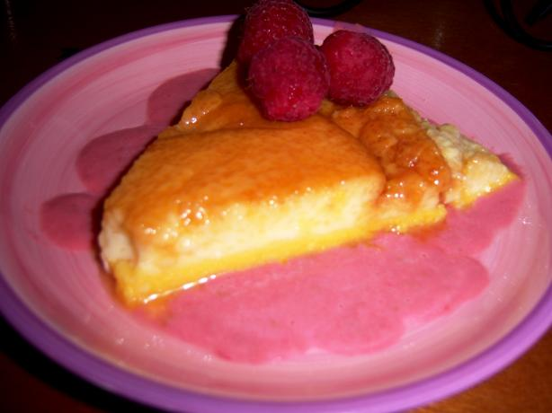 Orange Flan With Raspberry Coulis. Photo by EmmyDuckie
