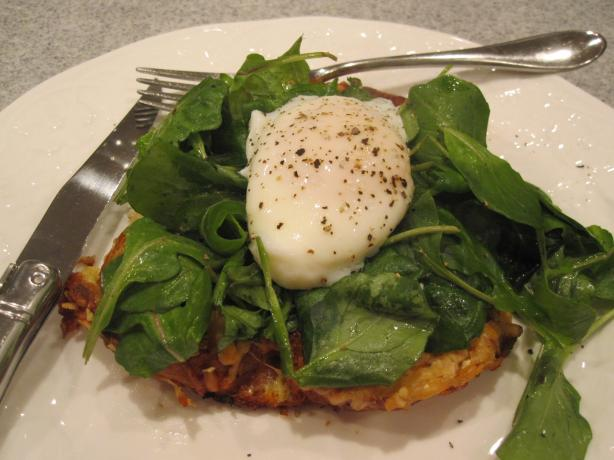Savory Parmesan Pain Perdu With Poached Eggs and Greens. Photo by Liza at Food.com