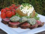Sacr&eacute; Boeuf Sirloin Steak Topped With Mustard Herb Butter