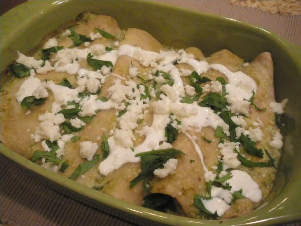 Green Jalapeno and Tomatillo Chicken Enchiladas. Photo by PanNan