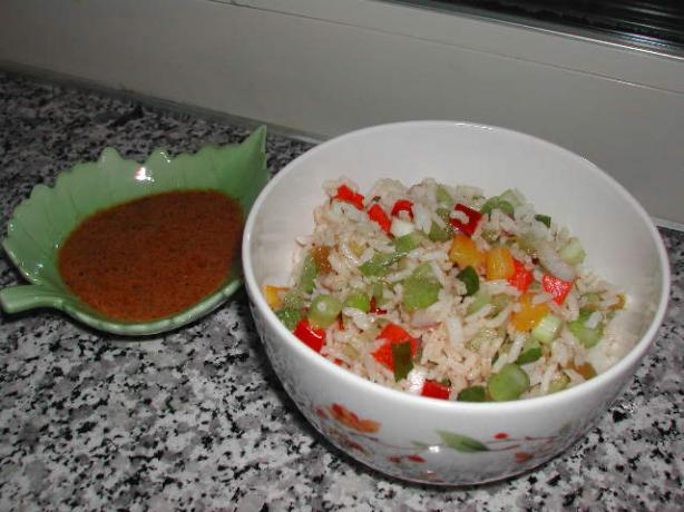 Cajun Rice Salad. Photo by Kumquat the Cat's friend