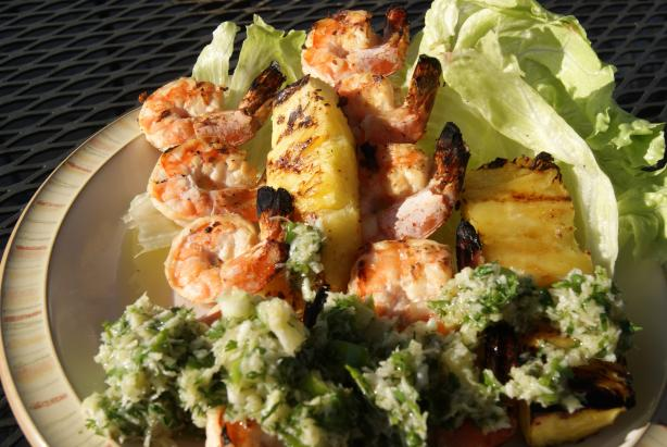 Grilled Coconut Shrimp Kabobs With Island Salsa. Photo by CaliforniaJan