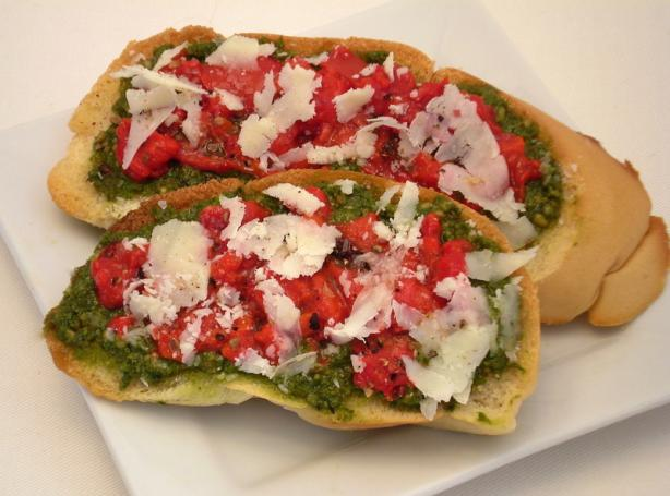 Pesto, Roasted Red Pepper and Parmesan Bruschetta. Photo by TasteTester