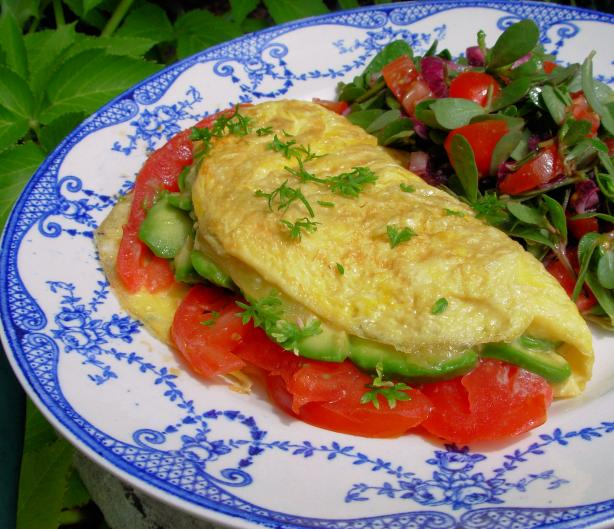 Avocado, Cheddar, and Tomato Omelet. Photo by French Tart