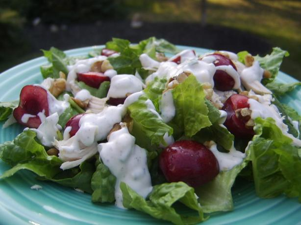 Seared-Chicken Salad With Cherries and Goat-Cheese Dressing. Photo by LifeIsGood