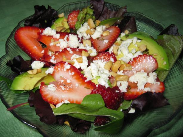 Avocado Strawberry Salad With Feta and Walnuts in a Tarragon Vin. Photo by threeovens