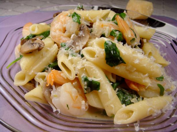 Creamy Shrimp and Spinach Pasta. Photo by Lori Mama