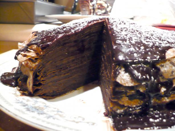 Crepe Cake With Espresso Chocolate Glaze. Photo by Hannah Verrinder