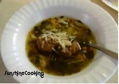 Solar Cooked Italian Style Wedding Soup With Meatballs. Photo by SunshineCooking