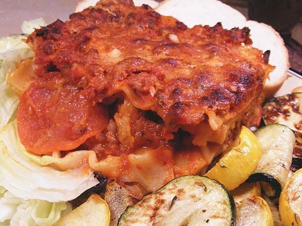 Bird&#39;s Pizza Style Lasagna. Photo by Lavender Lynn
