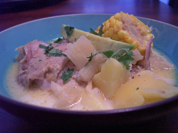 Ajiaco Bogotano (Chicken and Potato Soup, Bogota Style). Photo by jrusk