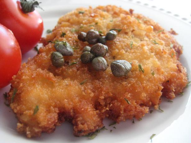 Panko-Coated Chicken Schnitzel With Capers and Lemon. Photo by gailanng