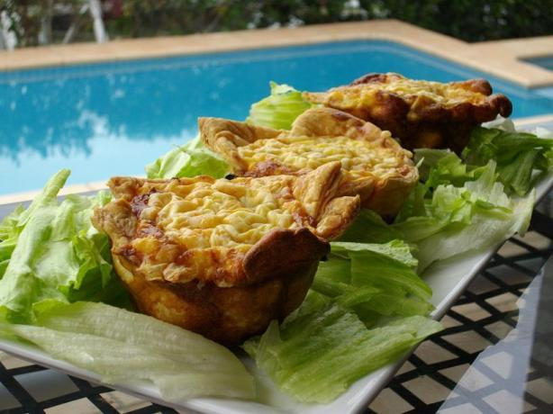 Mushroom, Spinach and Ham Tarts/Quiches. Photo by The Flying Chef