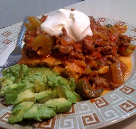 Open Face Mexican Sloppy Joes over Cornbread. Photo by Love to Eat!!