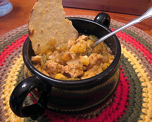 Crock Pot Chicken and Hominy Stew. Photo by yogiclarebear