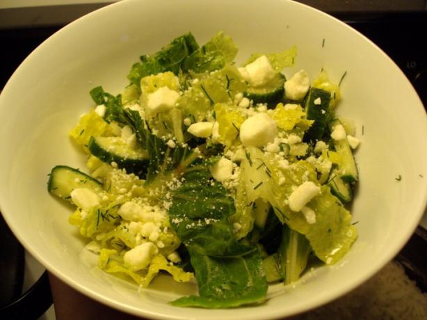 Greek Style Romaine Salad With Lemon and Fresh Dill. Photo by dicentra