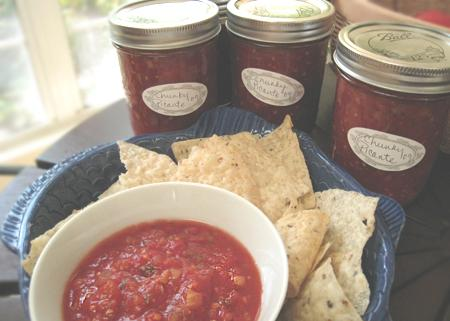 Canned Basic Salsa. Photo by Caroline Cooks