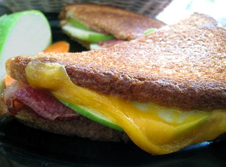 Grilled Cheese With Bacon, Apple and Mustard. Photo by Caroline Cooks