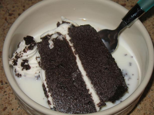 Store Bought Chocolate Cake and Milk. Photo by Acadia*