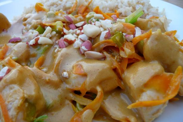 Thai Coconut Peanut Chicken. Photo by Tea Jenny