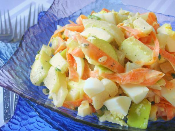 Turnip-Apple-Carrot Salad With Eggs. Photo by Lori Mama