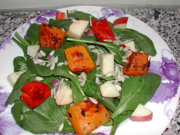 Roasted Butternut Squash and Spinach Salad. Photo by Kumquat the Cat's friend