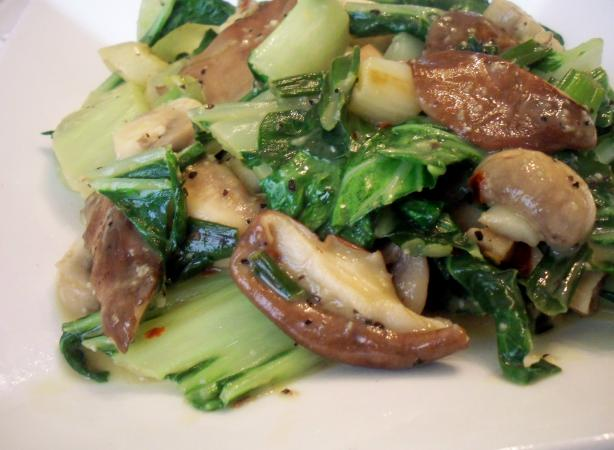 Sauteed Bok Choy With Mushrooms. Photo by *Parsley*