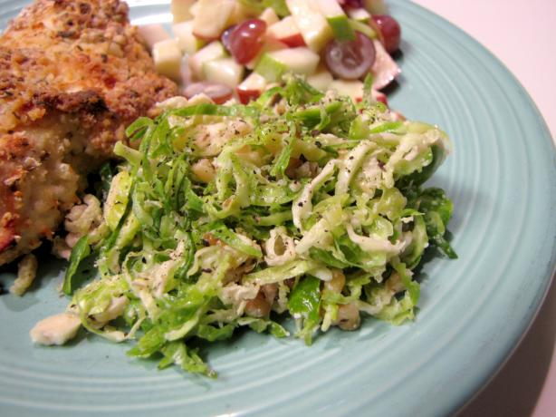 Shaved Brussels Sprout Slaw With Walnuts and Romano. Photo by loof