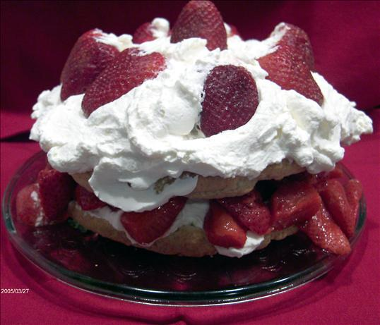 Old Fashioned Strawberry Shortcake with Sweetened Flavoured Whipped Cream. Photo by Derf