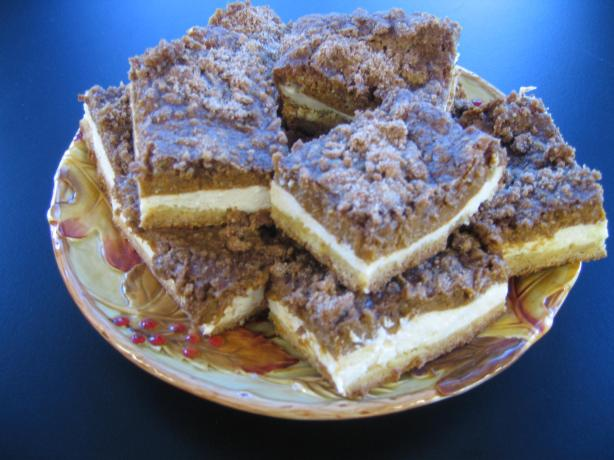 Streusel Pumpkin Cheesecake Bars. Photo by Chef #1438216
