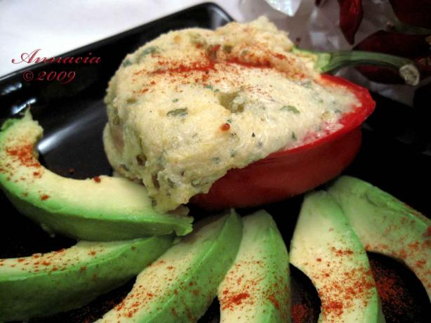 Stuffed Red Peppers With Cheesy Polenta and Green Chiles. Photo by Annacia