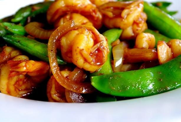 Malaysian Fried Shrimp With Sugar Snap Pea Pods. Photo by AmandaInOz