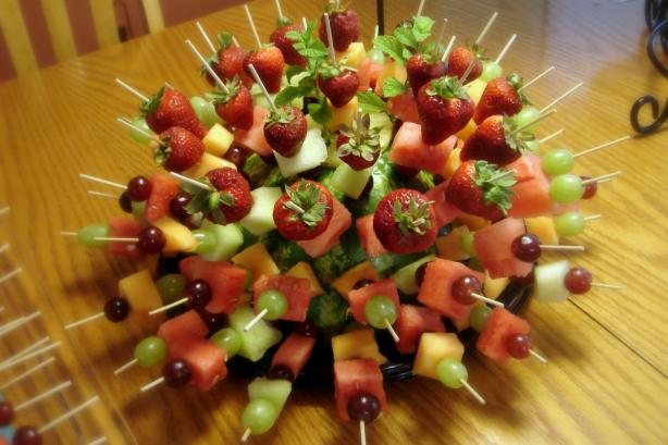 Showy but Simple Fruit Kabobs - Perfect for a Party. Photo by Hadice