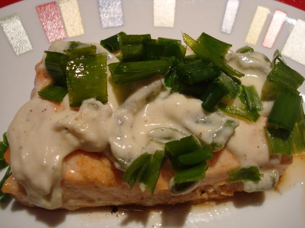 Baked Salmon (with Lime, Jalapeno Chive and Sour Cream Sauce). Photo by Starrynews