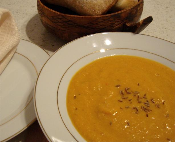 Spiced Carrot and Lentil Soup. Photo by JoyfulCook