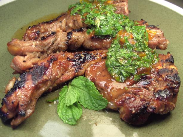 Grilled Lamb Shoulder Chops With Fresh Mint Sauce. Photo by JustJanS