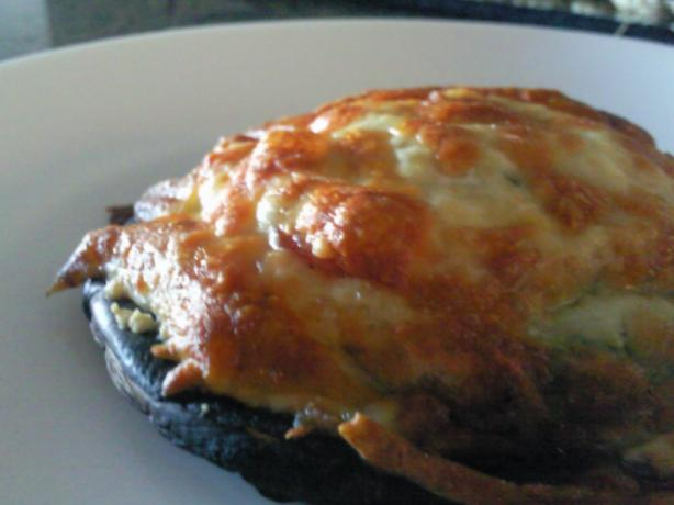 Bacon & Mozzarella Topped Portabella Mushroom With Pesto. Photo by Coasty