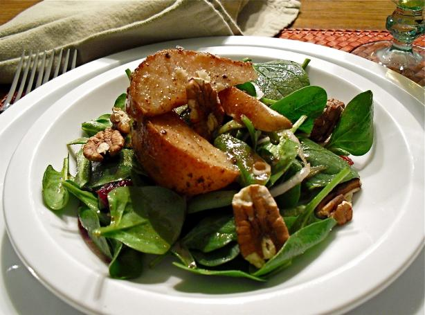 Warm Apple Vinaigrette With a Roasted Pear & Spinach Salad. Photo by PaulaG