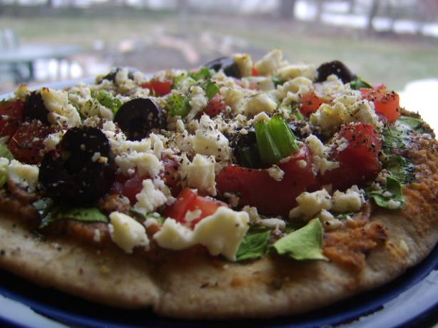 Pita Pizzas With Hummus, Spinach, Olives, Tomatoes &amp; Cheese. Photo by LifeIsGood