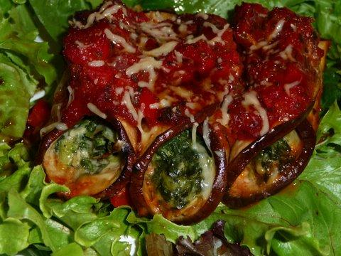 Gorgonzola Stuffed Eggplant Rolls With Mushroom Tomato Sauce. Photo by mickeydownunder