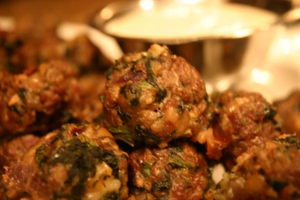 Spanakopita Meatballs With Greek Yogurt Sauce. Photo by KPD