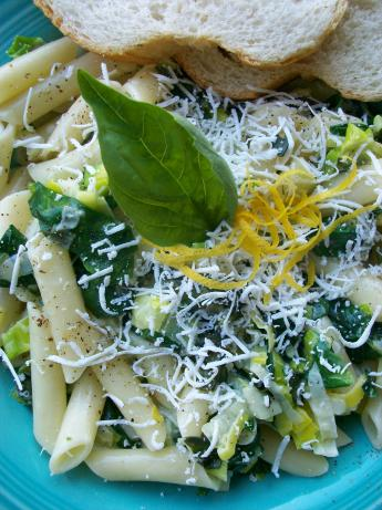 Fusilli With Creamed Leek and Spinach. Photo by Cookgirl