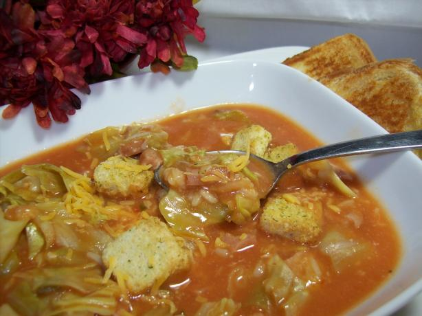 Creole Rice, Sausage,  and Cabbage Soup. Photo by Chef shapeweaver ©